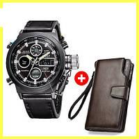 Комплект ударопрочные часы AMST black + портмоне Baellerry Business