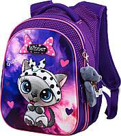 Рюкзак ортопедический школьный фиолетовый Winner One R1-002 для девочки 1-4 класса Котик  29*19*38см, фото 1