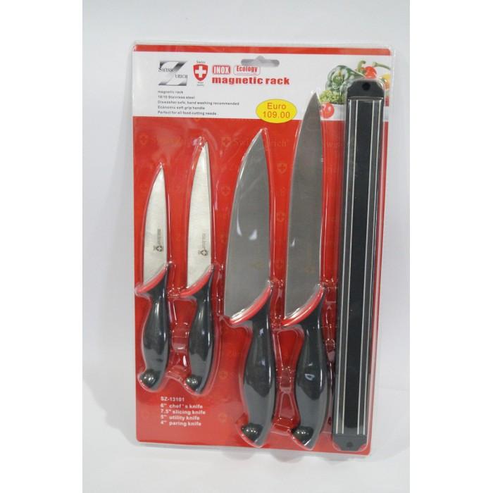 Набор металлических ножей Swiss Zurich SZ-13101 + магнитная рейка-держатель