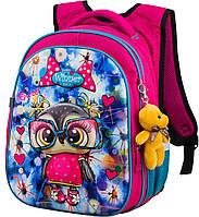 Рюкзак ортопедический школьный для девочки 1-4 класс Winner One R1-004 3D рисунок Модная сова 29*19*38см