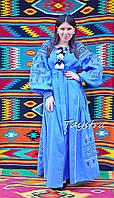 Вышиванка платье в пол лен, этно стиль, вишите плаття вишиванка, синее платье лен, платье бохо вышитое