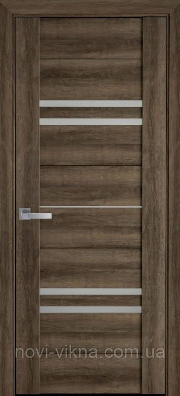 Дверь межкомнатная Мерида Бук Табачный 600 мм со стеклом сатин (матовое), ПВХ Viva.