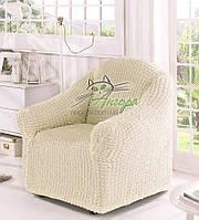 Чехол-накидка без оборки натяжной на кресло Concordia (жатка) крем