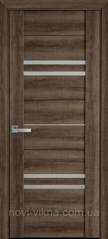 Дверь межкомнатная Мерида Бук Табачный 900 мм со стеклом сатин (матовое), ПВХ Viva.