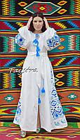 Белое платье вышиванка  белое платье в пол, вышиванка лен, вышитое платье бохо-шик