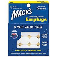 Беруши универсальные, пластичный силикон Mack's Pillow Soft (6 пар), фото 1