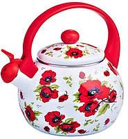 СКИДКА! Чайник индукционный 2,2 литра эмалированный со свистком для плиты «Маки» Zauberg
