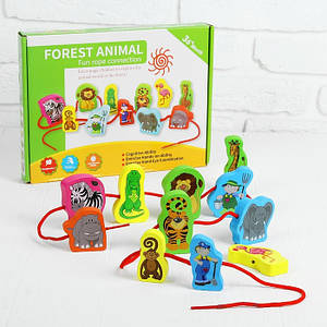 Деревянная игрушка Шнуровка MD 1263 (Дикие Животные)