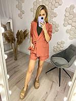 Костюм женский льняной пиджак шорты белый, голубой, хаки, горчица, кирпич 42-44, 46-48