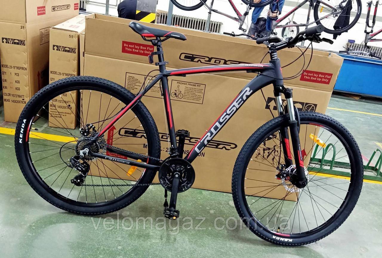 """Велосипед Crosser Inspiron*22 29"""" черно-красный горный алюминиевый"""