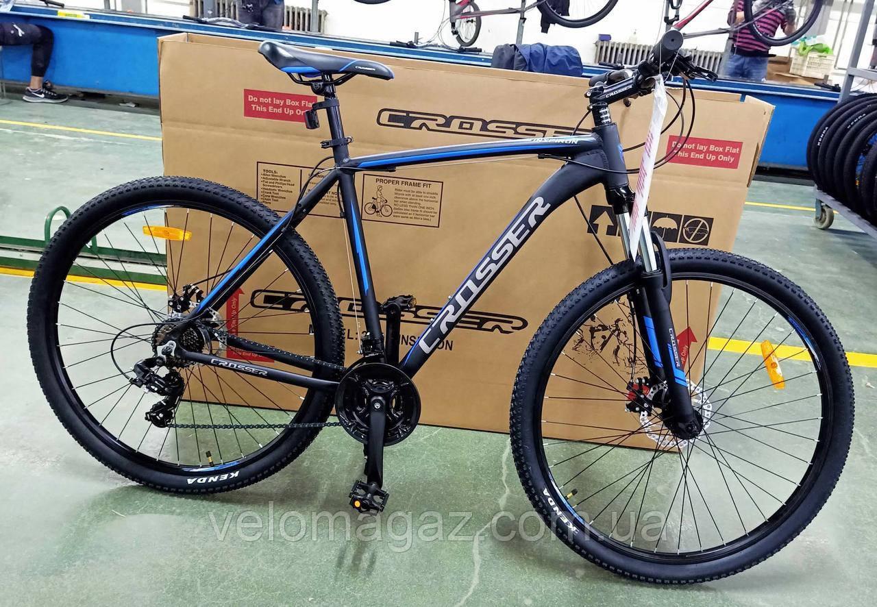 """Велосипед Crosser Inspiron 29"""" рама 21"""" черно-синий, горный алюминиевый"""