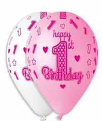"""Латексный Шар Gemar 12""""/30 см Пастель HAPPY BIRTHDAY 1 год Девочка Белый/Розовый, 1 шт"""