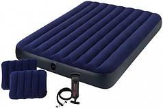 Матрас двухместный надувной с 2 подушками и ручным насосом Intex Classic Downy Airbed 64765 152х203х25 см Blue