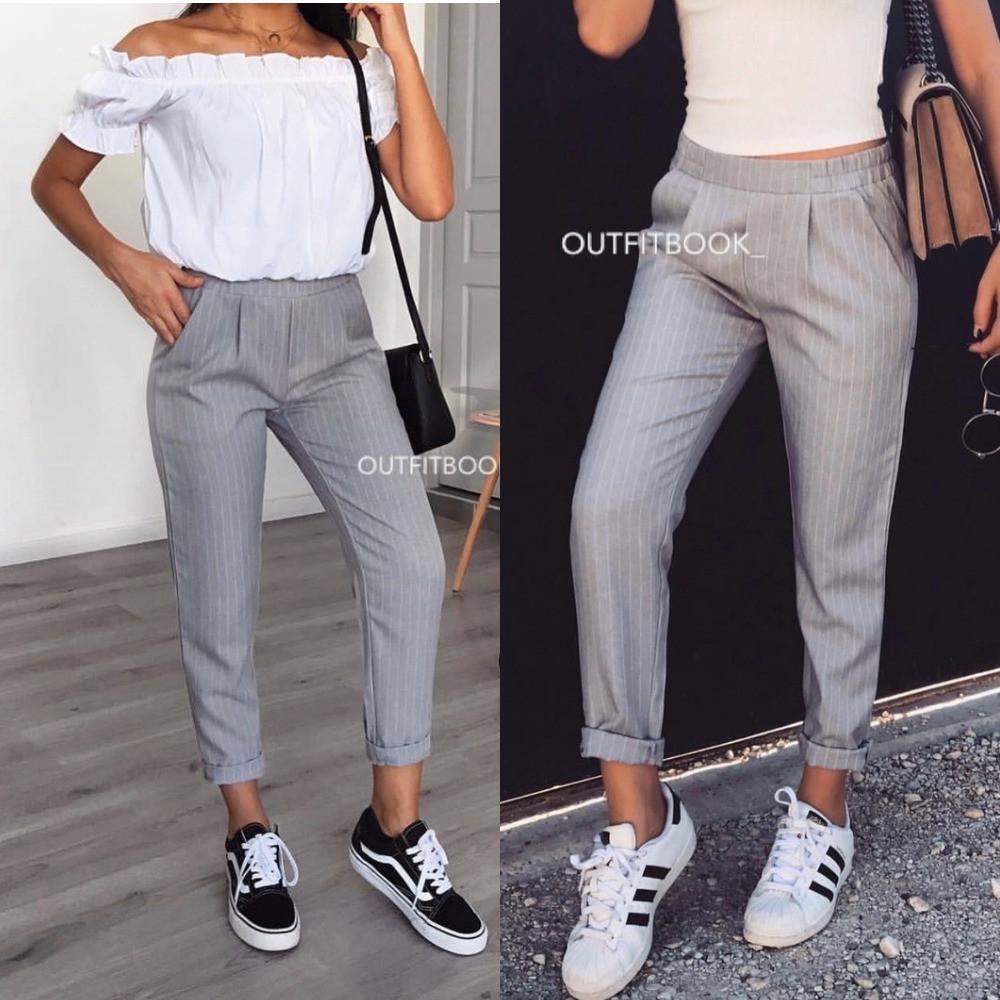 Брюки женские, офисные, стильные, повседневные, зауженные, укороченные, молодежные, с карманами, до 46 р