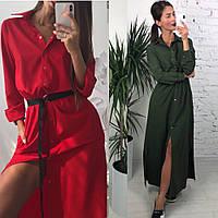 Платье халат, женское, в пол, легкое, на кнопках, офисное, повседневное, модное, до 48 р, пояс в комплекте