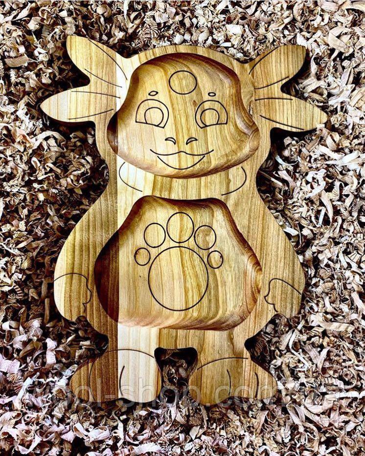 Деревянная менажница детская Лунтик 25х30 см.
