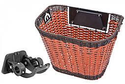 Кошик передній велосипедний коричневий JL-CK101 з ручками швидкозйомна