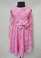 Нарядное детское платье на девочку от 5 до 10 лет с вышивкой