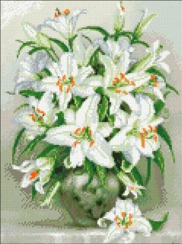 АМС-135 Белые лилии. Набор алмазной мозаики (30 х 40)