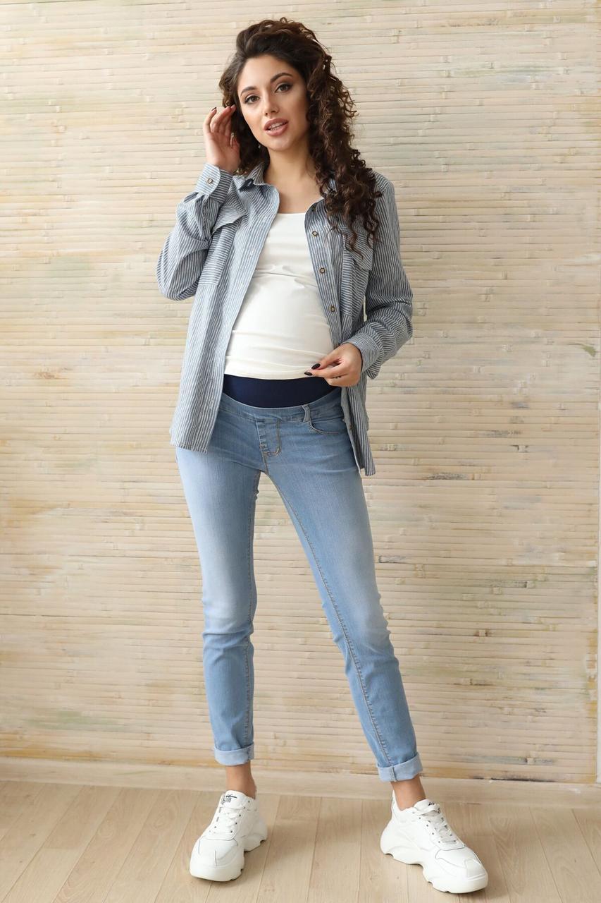 Голубые летние джинсы для беременных