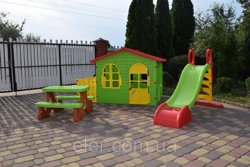 Акція! Детский садовый домик + терраса+ горка 180см  Польша