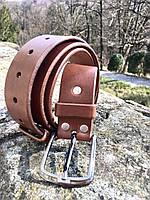 Кожаный ремень ручной работы светло-коричневого цвета. Мужской кожаный пояс