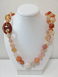 Ожерелье из натурального халцедона с огранкой