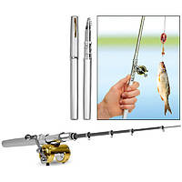 Складная мини удочка 97 см Fishing Rod In Pen Case Grey