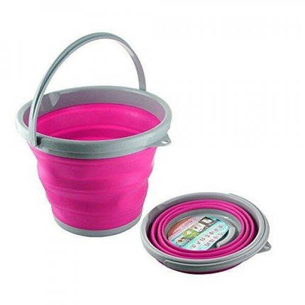 Складное ведро Silicon Bucket 10л. Розовое, фото 2