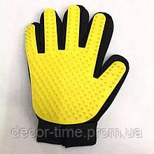 """Перчатка для вычесывания домашних питомцев """"Желтая"""" (54723482489294)"""