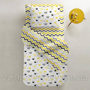 Комплект детского постельного белья Cosas 3 предмета CROWNS /зигзаг желто-серый/