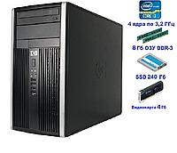 Системный блок, компьютер, Intel Core i3 2120, 4 ядра по 3,2 ГГц, 8 Гб ОЗУ DDR-3, SSD 240 Гб, видео 4 Гб