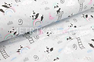 """Ткань хлопковая """"Спящие панды на мятно-розовой радуге"""" на светло-сером фоне №1679"""