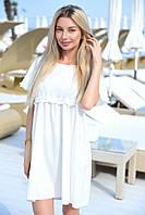 Короткое белое свободное платье на короткий рукав (S/M, M/L, L/XL)
