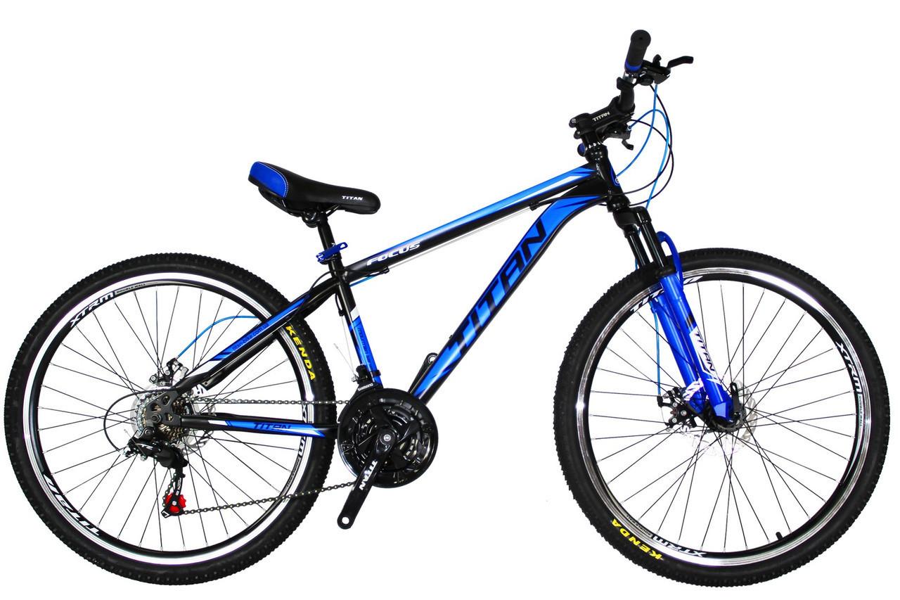 🚲Горный стальной дисковый велосипед TITAN FOCUS DD (Shimano, моноблок); рама 15; колеса 26
