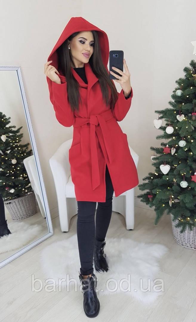 Пальто с кашемира на подкладке красного цвета 44 р.