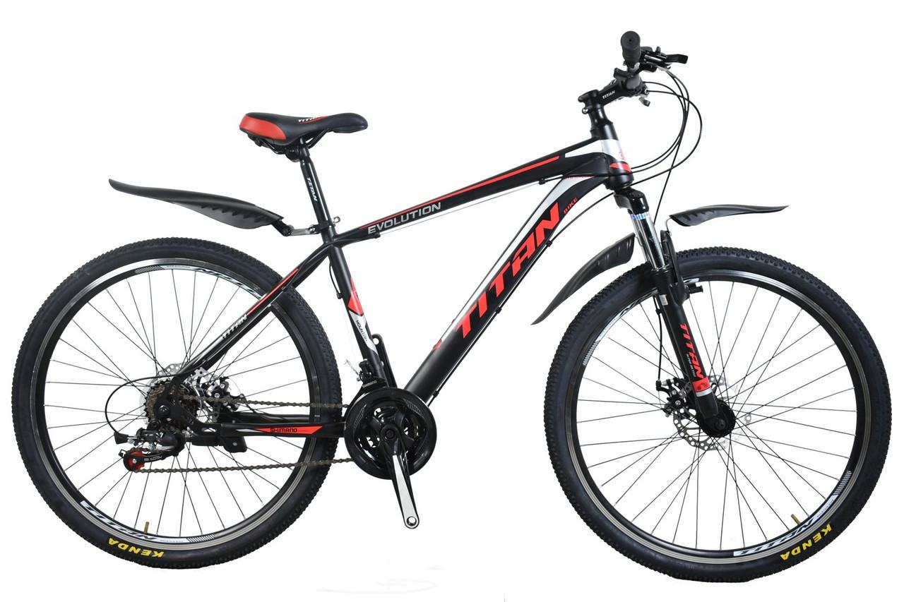 🚲Горный стальной дисковый велосипед TITAN EVOLUTION (Shimano, моноблок); рама 17; колеса 27,5