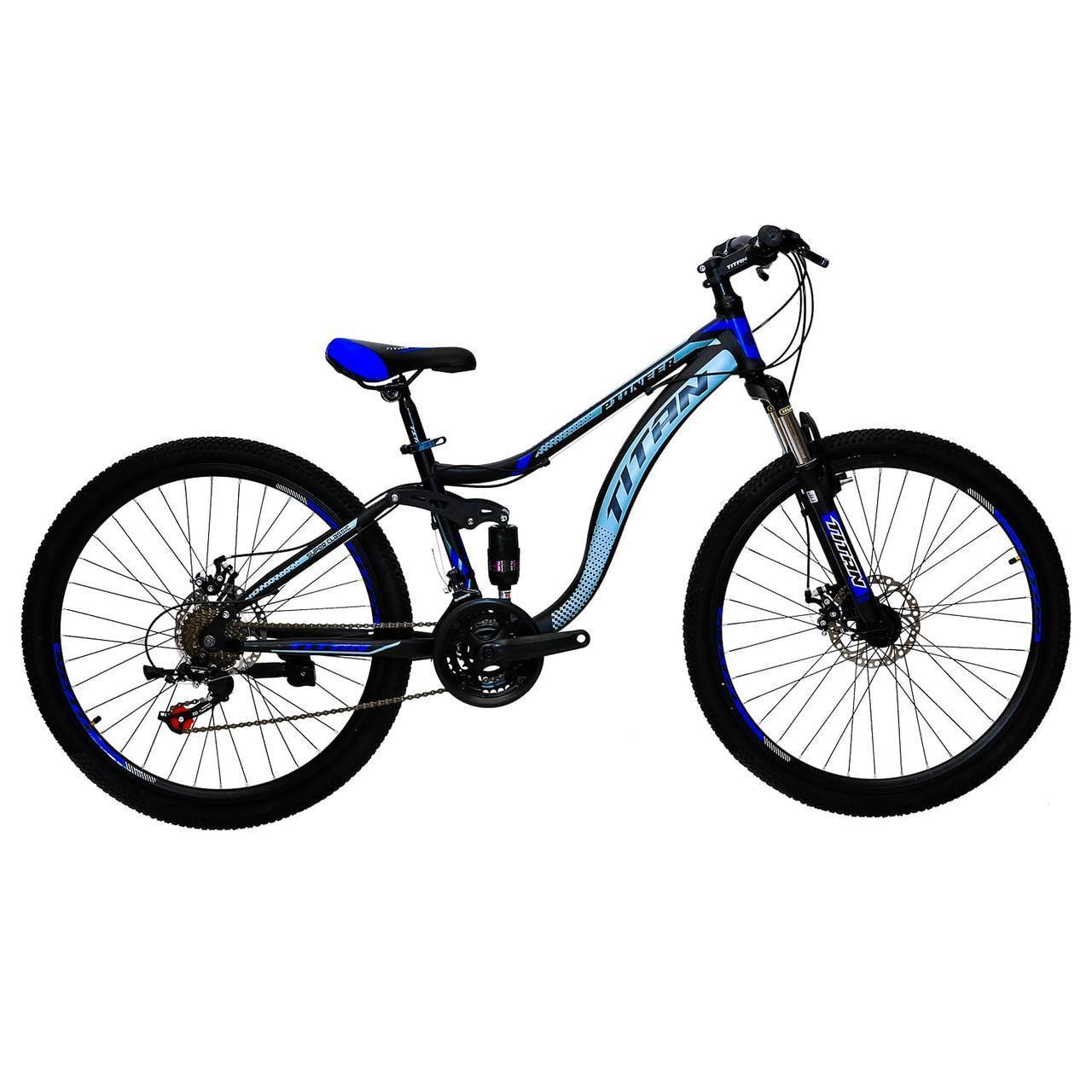 🚲Горный стальной дисковый велосипед Titan PIONEER DD (Shimano, моноблок); рама 14; колеса 26