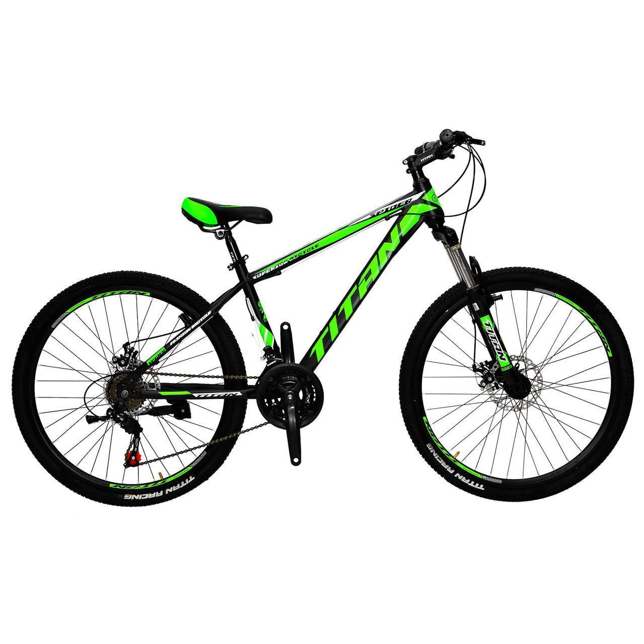 🚲Горный стальной дисковый велосипед TITAN SPIDER DD (Shimano, моноблок); рама 15; колеса 26