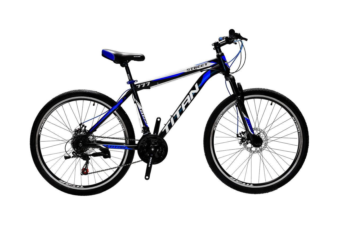 🚲Горный стальной дисковый велосипед TITAN STREET DD (Shimano, моноблок); рама 17; колеса 26
