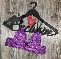 Фиолетовый кружевной бюстгальтер-браллет , нижнее белье.