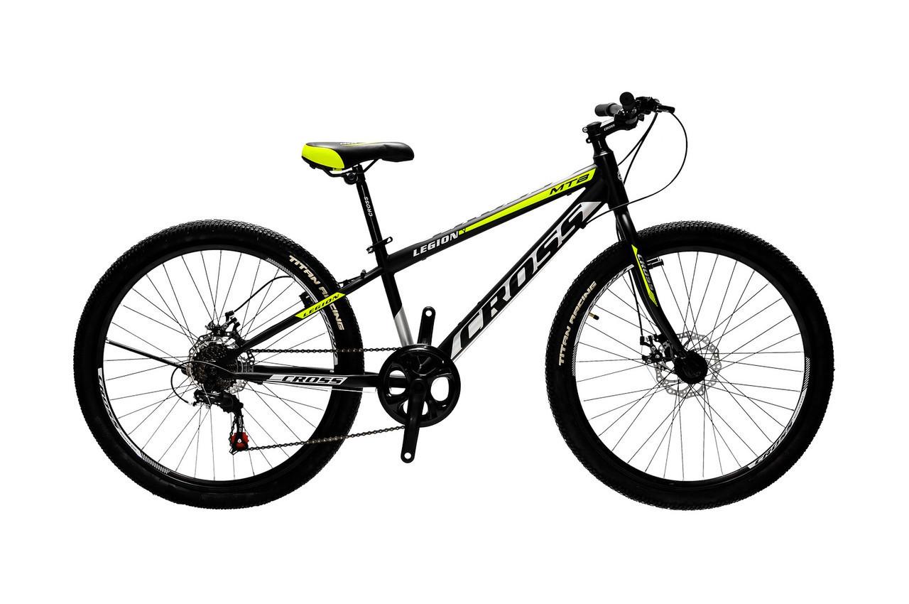 🚲Подростковый стальной горный дисковый велосипед CROSS LEGION ( Shimano, полуавтоматы); рама 11; колеса 24