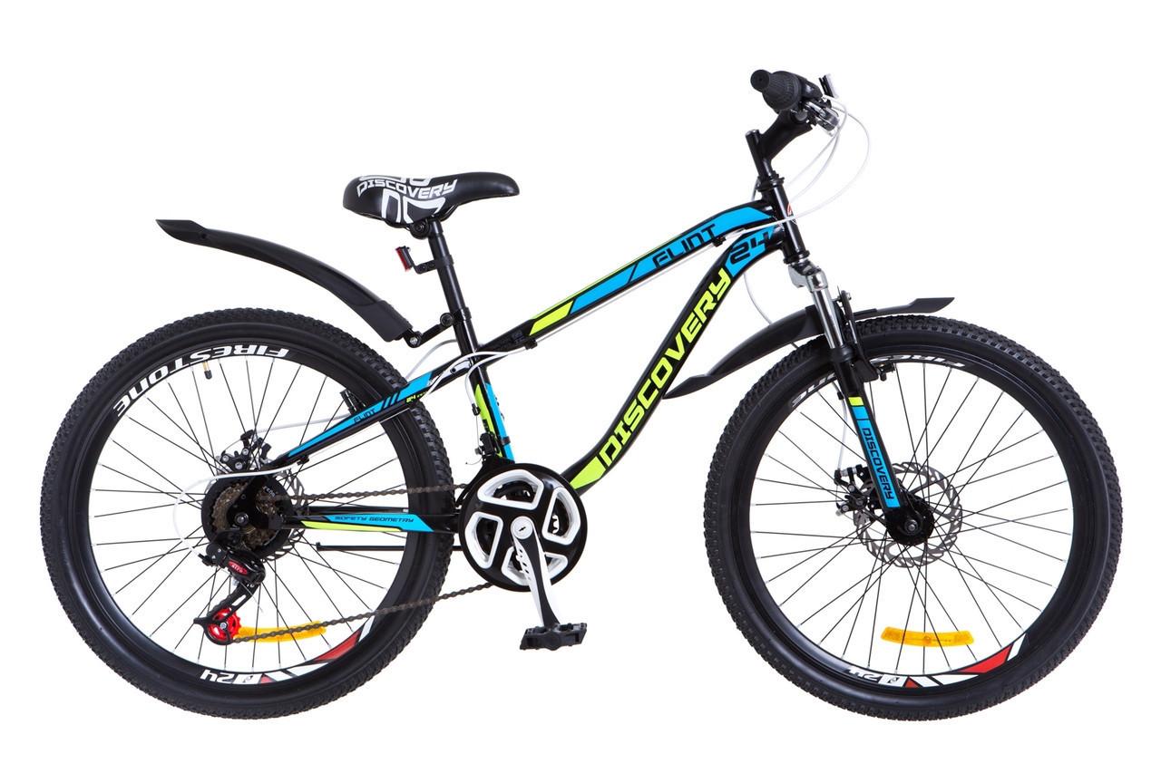 🚲Подростковый стальной горный дисковый велосипед Discovery FLINT AM DD 2018; рама 13; колеса 24