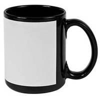 Чашка сублимационная цветная с полем 330 мл (Чёрный)