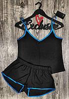 Черная летняя пижама , комплект майка и шорты.