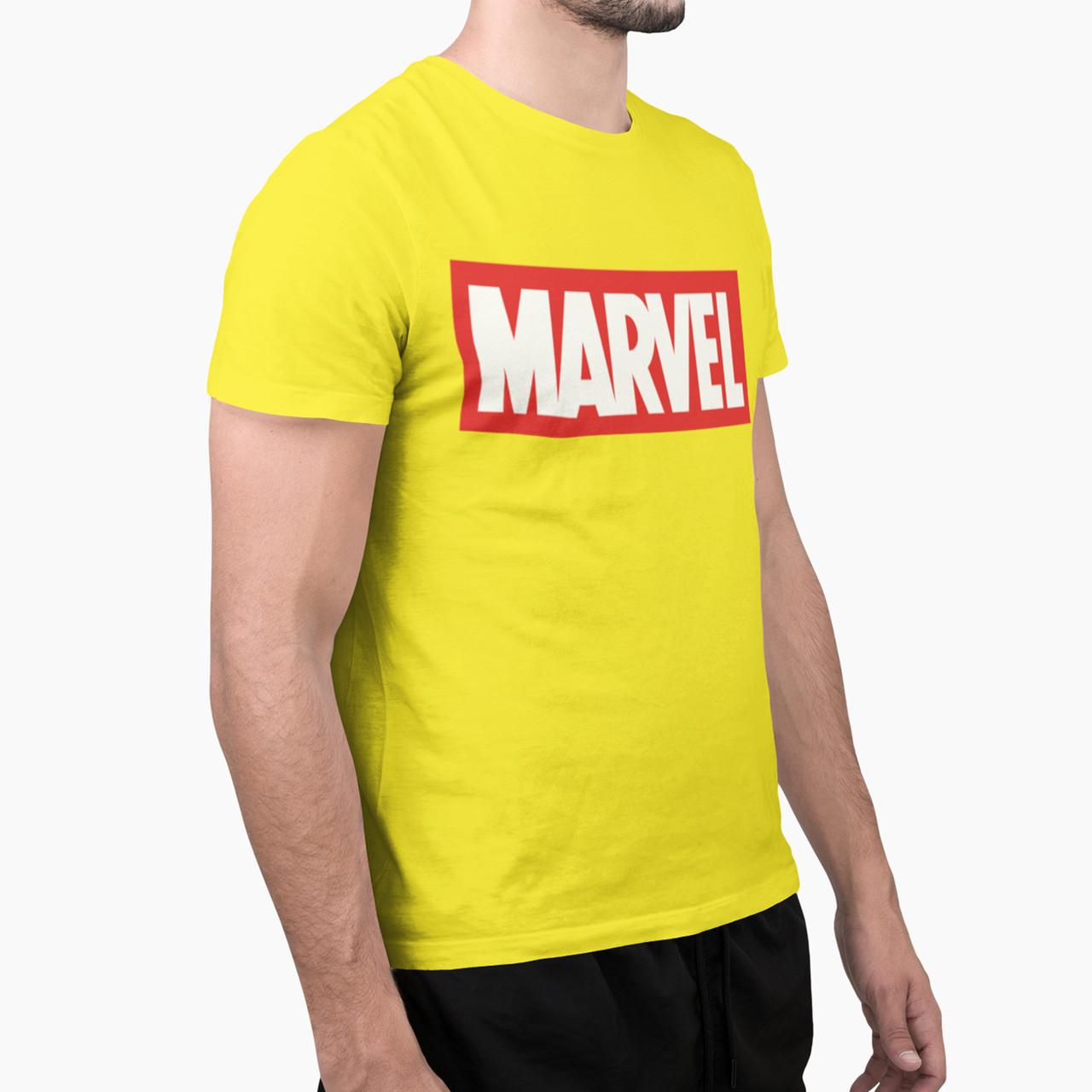"""Футболка мужская жёлтая с принтом """"Marvel"""""""