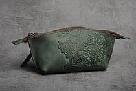 Женская кожаная зеленая косметичка ручной работы, фото 1