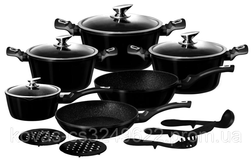 Набор посуды Edenberg  Black Metallic Line - 15 предметов