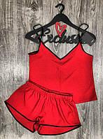 Летние женские пижамы, комплект майка+шорты 021 красный.