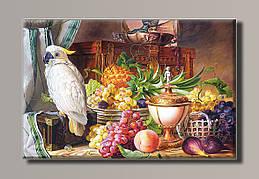 Картина HolstArt Натюрморт с фруктами и какаду 81,5*54см арт.HAS-411
